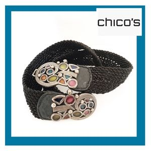 Chico's Stones Embellished Woven Black Belt